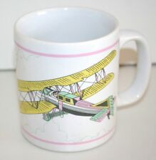 NEW Kiln Craft Bi-Wing Airplane Mug  Pastel Colors Made in England Late 70s
