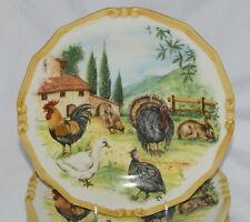 Ceramica Cuore Farmhouse 4 DINNER PLATES Italy, Turkey Rooster, Farm Yard, NEW!