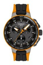 New Tissot T-Race Cycling Mens Black & Orange Rubber Strap Watch T1114173744104