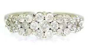 Stunning 1ct Diamond Cluster 9ct white gold ring size N ~ 6 3/4