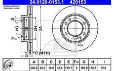 ATE Juego de 2 discos freno 302mm ventilado para TOYOTA LAND CRUISER