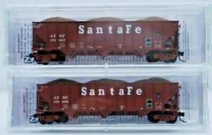 ATSF. Micro Trains Line N Scale 3 Bay Coal Hoppers with Load Road #'s179697 & 58