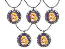 5 Disney Princess AURORA 3D Bottle Cap Necklace Birthday Party Favors