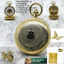 GOLD Mechanical Pocket Watch Large Size 50mm Brass Case Skeleton + Fob Chain  35