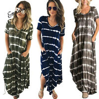 Summer Women' Boho Casual Long Maxi Evening Party Cocktail Beach Dress Plus Size