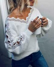 Sexy V Neck Lace Hollow Knit Sweater Autumn Winter Long Sleeve Pullover Tops Ele