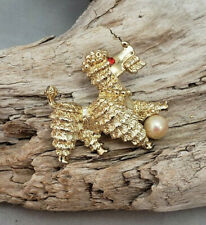 Vintage Rare Rhinestone and Faux Pearl Poodle Pin Brooch