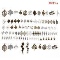 100Pcs Mix Style Leafs Flowers Connector Charms Pendant DIY Jewelry Making G_EO