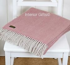 KNEE RUG /SMALL THROW Pure New Wool DUSKY PINK & PEARL Herringbone Chair Blanket