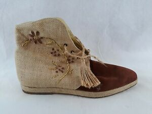Claudio Merazzi Womens Couture Suede & Linen Ankle Boots Shoes Size 7