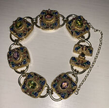 RARE AND BEAUTIFUL ANTIQUE CHINESE SILVER GOLD GILDED ENAMEL GEMSTONE BRACELET
