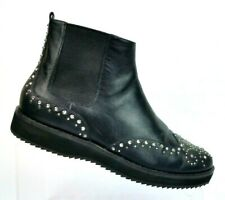 Michael Kors Sofie Black Leather Studded Ankle Boots Flat Women's 6