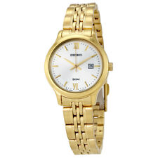 Seiko Classic Silver Dial Ladies Gold Tone Watch SUR704P1