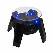 Black Solar Powered Display Stand Rotating Turntable with LED Light + Colored