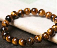 Natural African Tiger eye Stone 8mm Beads Men Jewelry Bracelet Elastic Bangle AA