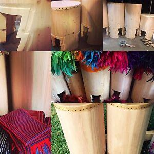 """Huehuetl Drum 34"""" X 15"""" Native Drum Aztec Dance"""