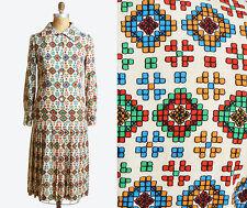VTG 70s Emanuel Ungaro Dress Kaleidoscope Print Pleated Midi