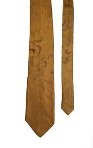 Romeo Gigli Vintage Satin Mustard Brown Wave Pattern Silk Tie 9.5 cm