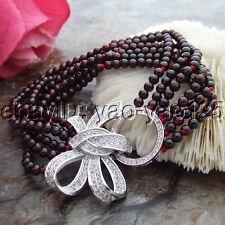 S102911 8'' 6 Strands 4mm Round Garnet Bracelet