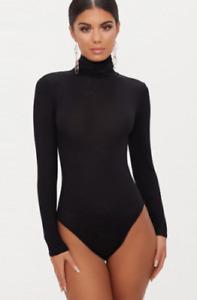 Ladies Plain High Roll Turtle Polo Neck Bodysuit Womens Long Sleeve Leotard Top