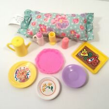 Misc Lot Of Dishes, Teapot, Baby Bottles, Tray, Pillow, Goblet Barbie, Dollhouse