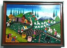 Colombia folks art & Primitive Painting on pig or llama skin Colorful farm view