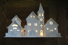 Warm White LED Illuminated Wooden Church Scene Xmas Christmas Decoration