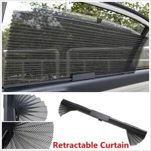 Retractable Car Auto Curtain Window Windshield Shade Sunshade Blinds Mesh Black