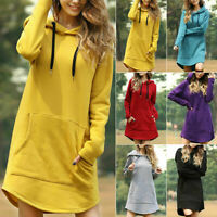 Sweater Dress Hooded Pullover Long Sleeve Hoodie Jumper Sweatshirt Tops Womens