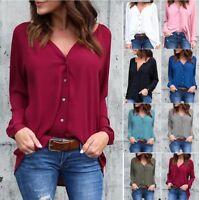 Women Fashion V Neck Summer Casual Long Sleeve Chiffon T Shirt Blouse Loose Tops