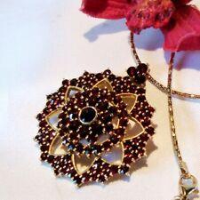 großer Granat Stern Anhänger mit Kette Halskette Silber vergoldet / kl 156