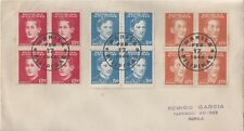 1944 OCCUPIED PHILIPPINES FDC - RIZAL, BURGOS, MABINI - BLOCKS OF 4 COMBO
