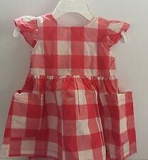 Carters Baby Girl 6M Dress Red Check Pockets Ruffled Sleeve New