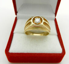 Solid 14k Yellow Gold Mens Natural Diamond 0.25ct VS/H Ring 9.5 grams size 9