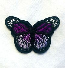 Embroidered Butterfly Applique Purple Black Iron On DIY Hot Fix 2.75""