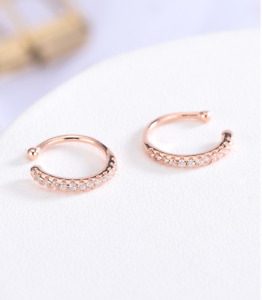 A Pair 925 Sterling Silver Nose Ear Cuff CZ Crystal Clip Earrings Rose Gold E6
