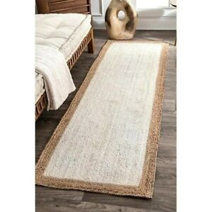 Discounted Classic Solid Design Indian Hand Woven Jute Hemp Rug Brown White
