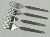 National Stainless Sevita 4 Salad Forks MCM Floral Black Accent Handles Japan