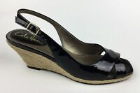 Cole Haan Womens Black Patent Leather Ankle Strap Wedge Heel Sandals Sz US 8