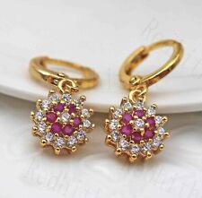 18K Gold Filled Noble Sunflower Topaz Ruby Garnet Gemstone Drop Women Earrings