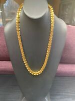Vintage  Gold Textured WUnusual Link Chunky Necklace 22 Inches Long Nice Quality