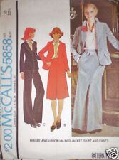 5858 Vintage McCalls Pattern 1970's Misses Jacket Skirt Pants 10