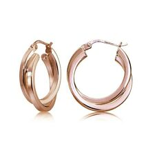 Rose Gold Flash Silver Square-Tube Double Twisted 15mm Round Hoop Earrings