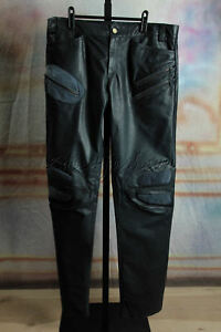 $1950 New with tags ROBERTO CAVALLI Navy Blue Suede Leather Biker Pants Medium