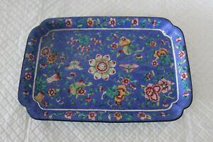 Pretty oriental enamelled floral 22cm copper tray