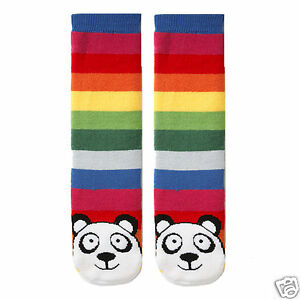 K.Bell Pair Multi Rainbow Bright Stripe Panda Tube Socks Non-Skid Socks New