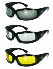 3 Stray Cat ANTI FOG Padded Motorcycle Riding Sun Glasses Clear Smoke Yellow NWT
