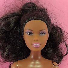 Barbie ASHA FACE AA Nude Curly Black Hair Shorty Body Purple Legs Doll E3