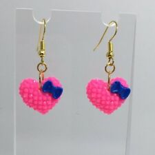 Hot Pink Blue Bow Heart Earrings B150 4 Cm Long Kawaii Barbie Medium