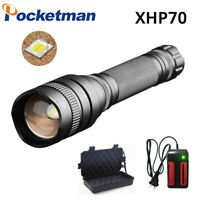 XHP70 Tactical LED flashlight Rechargeable Torch zoom Lantern 5 Modes LED Lights